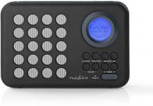 FM-radio   3 W   Klocka och alarm   USB-port och microSD-kortplats   Svart/grå