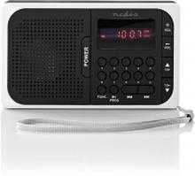 "FM-radio | Portabel design | FM | Batteridriven / Strömadapter | Digital | 3.6 W | Skärmstorlek: 2.0 "" | Svart Vit Skärm | Hörlursuttag | Svart/Vit"