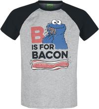 Sesam Stasjon - B Is For Bacon -T-skjorte - gråmelert, svart