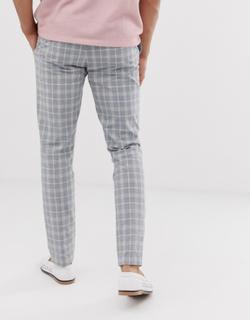 Topman skinny smart trousers in grey check