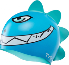 TYR Charactyrs Dino Destroyer Swimming Cap Barn blue/green 2020 Badehetter