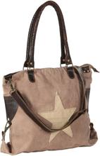vidaXL Shoppingväska brun 41x63 cm kanvas och äkta läder