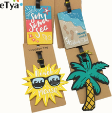 eTya Luggage Tag Silicone Cartoon Cute Fruits Food Beach Style Suitcase Tags Name Address Holder Baggage Boarding Tags Label
