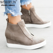 Women PU Leather Shoes Female Wedge Flat Shoes Solid Walking Sneakers Ladies Zipper Platform Sandals Zapatos De Mujer