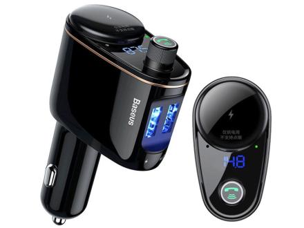 Baseus Transmiter Bluetooth ładowarka 2xUSB 3.4A Locomotive