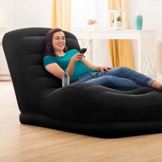 Intex oppustelig mega loungestol sort kunstlæder
