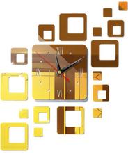 Modern 3d Stor Väggklocka Spegel Yta Klistermärke Konst Dekor Rum Gold