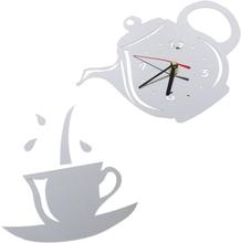 Diy Akryl Kaffe Kopp Tekanna 3d Väggklockor Heminredning Silver