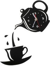Diy Akryl Kaffe Kopp Tekanna 3d Väggklockor Heminredning Black