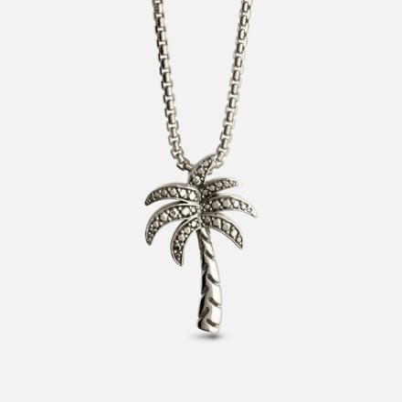 KYGO Palm Tree Crew anheng med ertekjede i oksydert sølv