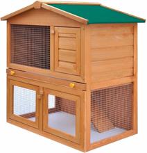 vidaXL Kaninkoppi pieneläinten ulkohäkki 3 ovea puu