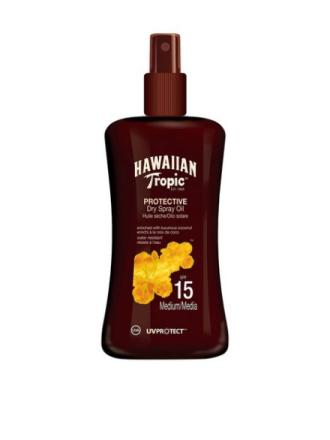 Solfaktor - Transparent Hawaiian Tropic Protective Dry Spray Oil SPF 15 200 ml