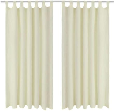 vidaXL 2pack gardiner med öglor i gräddvit microsatin 140 x 225 cm