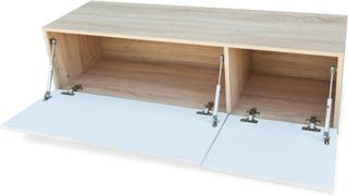 TV-Bord - hvit høyglans eik