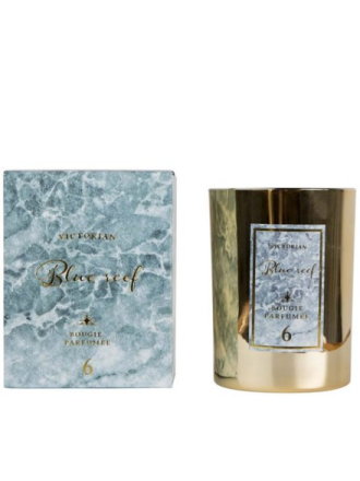 Beauty @ Home - Hvit Victorian Candles Marble Blue Reef