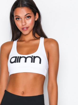 Sport BH Medium Support - Hvit Aim'n White Logo Bra