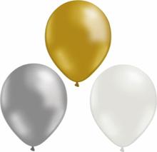 Ballonger mix 12-pack Guld/silver/vit
