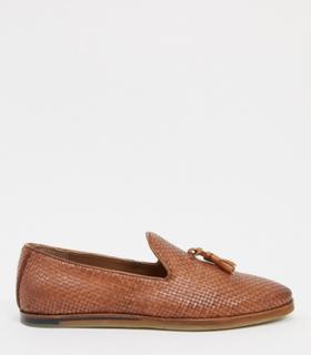 Walk London chris woven tassel loafers in tan leather-Brown