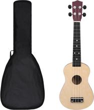 """Sopran-ukulele sett med veske 23"""" - lys tre"""