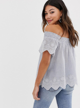 Brave Soul off shoulder stripe top with embroidered hem-Blue