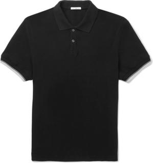 Contrast-tipped Cotton-piqué Polo Shirt - Black