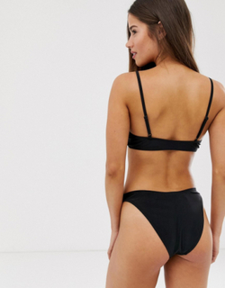Brave Soul cropped bikini top with tie front-Black