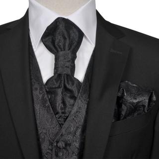 vidaXL Bryllupsvest sett herrer i svart paisleymønster str 48