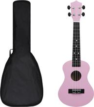 """Sopran-ukulele sett med veske 23"""" - rosa"""