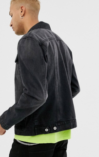 Topman denim jacket in black