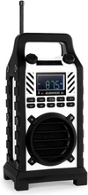 Duramaxx 862-BT-WH Byggplats-högtalare vit batteri USB SD