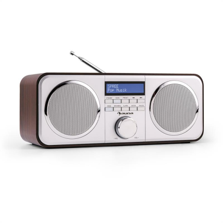 Georgia DAB-radio DAB+ FM presets väckarklocka AUX mörkbrun