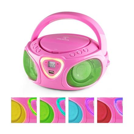 Roadie Boombox CD USB MP3 MW/UKW-Radio Bluetooth 2.1 LED-Färgspel rosa