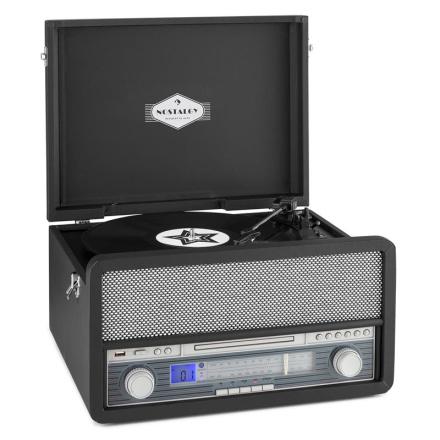 Belle Epoque 1907 Retro-ljudsystem Skivspelare Kassett BT USB CD AUX