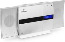 V-20 DAB Vertikal-Stereoanläggning Bluetooth NFC CD USB MP3 DAB+ silver-vit