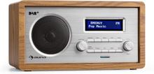 Harmonica DAB+/FM radio dubbel-larm AUX LCD trähölje valnöt