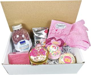 Presentförpackning med lyxiga badprodukter