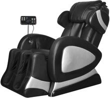vidaXL Massagefåtölj med superskärm svart konstläder