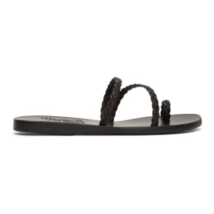 Ancient Greek Sandals Black Katia Sandals