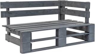 vidaXL Pallsoffa hörn för trädgården FSCträ grå