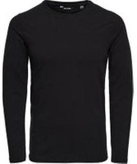 ONLY & SONS Basis Slim Fit Langærmet T-shirt Mænd Sort