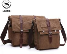 Scione Retro Men Messenger Bags Canvas Handbags Leisure Work Travel Bag Man Business Crossbody Bags Briefcase for Male Bolsas