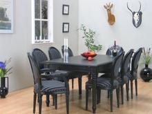 Amaretta spisegruppe 100x180/280 inkl. 2 tillægsplader sort med 2+6 Rokoko stole antik sort/sort.