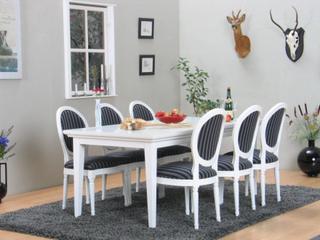 Venedig spisegruppe 95x180/276 inkl. 2 illægsplader hvid med 6 Rokoko stole hvid/sort.