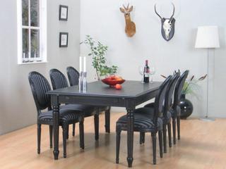 Amaretta spisegruppe 100x180/280 inkl. 2 tillægsplader sort med 6 Rokoko stole antik sort/sort.