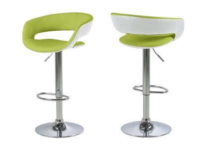 Gramma barstol hvit og limegrønn PU kunstskinn, med fot i krom, med gasspatron.