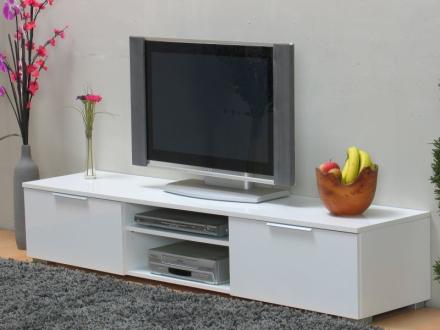 Bergamo Tv-benk med 2 skuffer og 2 hyller bredde 172 cm, høyde 33 cm hvit høyglans.