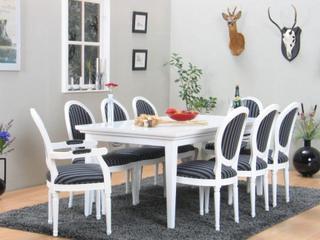 Venedig spisegruppe 95x180/276 inkl. 2 illægsplader hvid med 2+6 Rokoko stole hvid/sort.