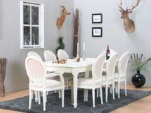 Amaretta spisegruppe 100x180/280 inkl. 2 tillægsplader hvid med 2+6 Rokoko stole antik hvid/beige.