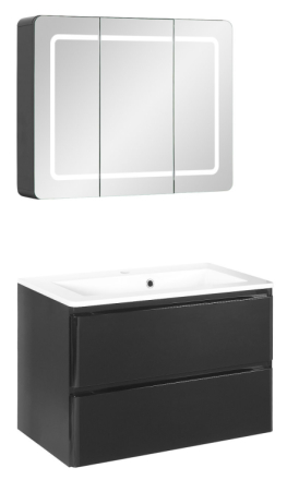Badeværelse Maja small opstilling hvor vask og spejlskab er 80 cm. Sort højglans folie. Leveres færdig samlet.