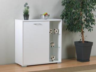 Skænk Wega hvid med 1 låge og 2 glashylder. Kan stilles på gulvet eller hænges på væggen.